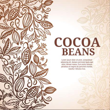 Cacao beans plant, Vector exotic cacao plants Illusztráció