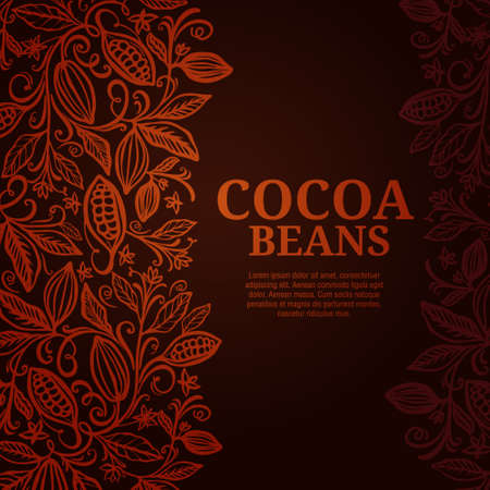 Cacao beans plant, Vector exotic cacao plants Ilustrace