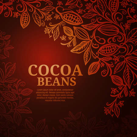Cacao beans plant, Vector exotic cacao plants Иллюстрация