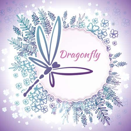 Vektorbotanische Banner mit Libelle und Blumen. Blumenmuster für Naturkosmetik, Parfüm, Damenprodukte. Kann als Grußkarte, Hochzeitseinladung, Frühlingshintergrund verwendet werden