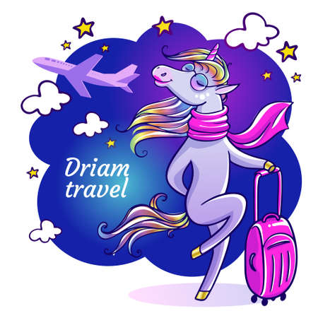 Beautiful unicorn with pink suitcase. Flight attendant on vacation.Travel greeting card with unicorn with sunglasses in summertime.