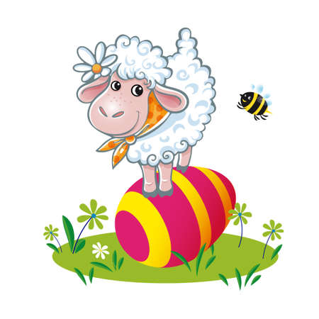 Easter sheep and bee with colored egg. Easter card set