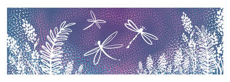 Vector vertical border with dragonflies, flowers, grass and plants. Summer style. Floral background. 向量圖像