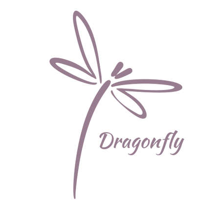 Dragonfly Logo Design Template. Vector Illustration Çizim