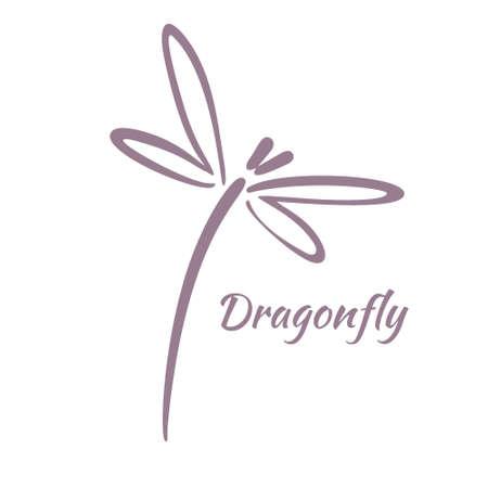 Modello di progettazione di logo di libellula. illustrazione vettoriale Logo
