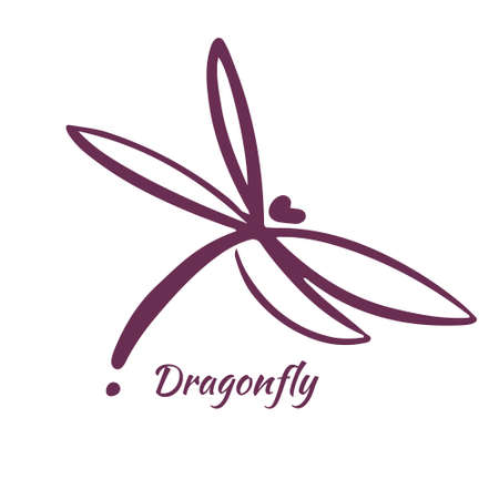 Modello di progettazione di logo di libellula. Illustrazione vettoriale