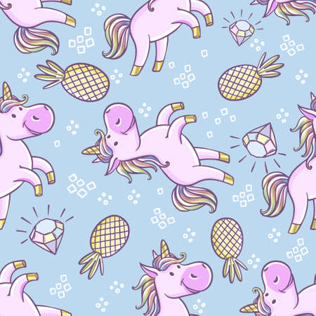 Seamless pattern with unicorns, donut rainbow, confetti, diamond and other elements. Vector background with labels, pins Archivio Fotografico - 124250550