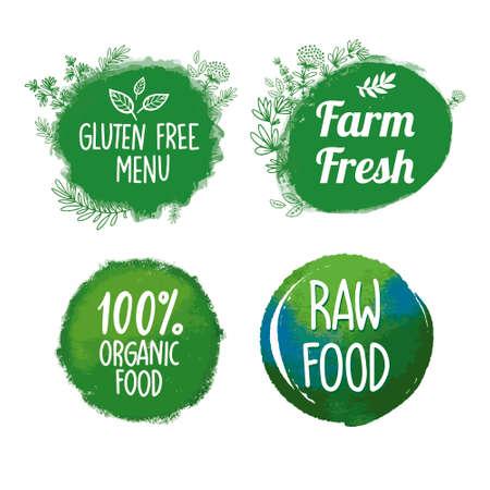 Bio, écologie, icônes organiques, étiquettes, tags. Insignes d'aliments sains bio dessinés à la main, ensemble de signes d'aliments sains, d'éléments organiques et d'éléments. pour les restaurants, les marchés fermiers et les emballages de produits biologiques Vecteurs