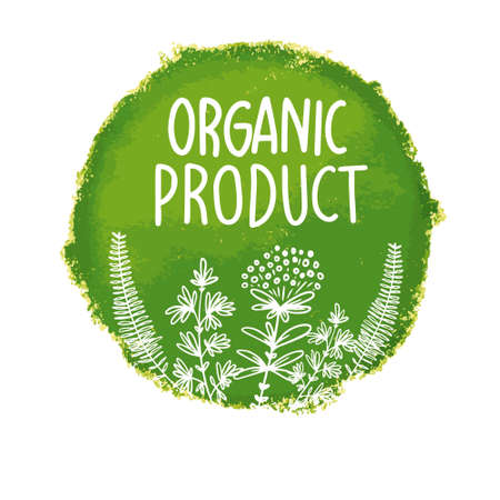 Vector natural, organic food, bio, eco labels and shapes on white background.