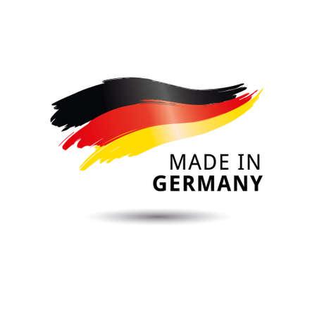 Hecho en etiqueta de calidad de Alemania sobre fondo blanco.