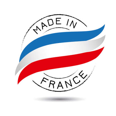 Made in france quality label on the white background.