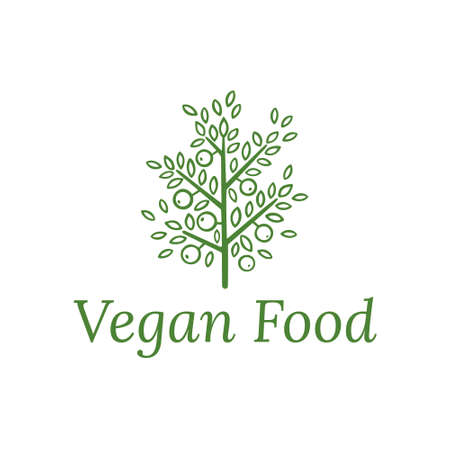 design template in trendy linear style - eat healthy - vegetarian or food badge or emblem for food wrapping