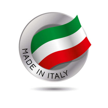 Made in italy quality label on the white background.