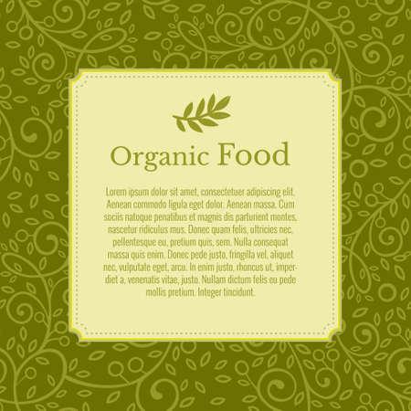 Flyer, brochure, affiche, modèle vectoriel. Branche d'olivier en arrière-plan. Conception de feuilles vertes écologiques modernes