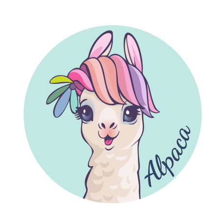 Llama cartoon alpaca. Llama animal vector isolated illustration. Design for card, sticker, fabric textile, t-shirt. Children, child of modern trendy style