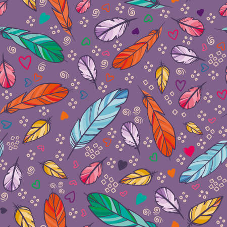 vector seamless pattern with feathers. Hand drawn illustration.