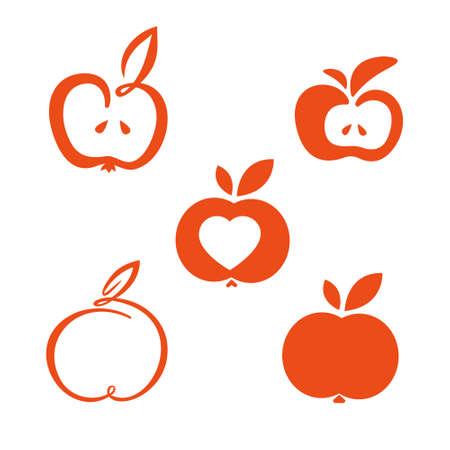 Minimalist fruit illustration set of lines design apple 矢量图像