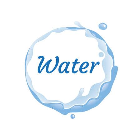 fresh water logo, spring water logo. Blue water splash vector logo collection. 矢量图像