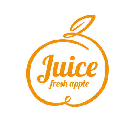 Juice apple logo design concept. Fruit and juice icon theme. Unique symbol of organic and healthy food. 向量圖像