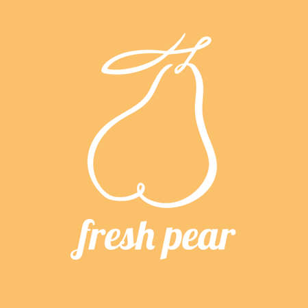 Pear continuous line drawing, minimalistic linear illustration. Vector made of a line 向量圖像