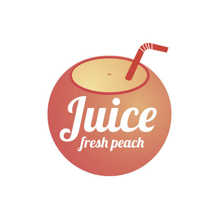 Peach juice logo design concept. Fruit and juice icon theme. Unique symbol of organic and healthy food.