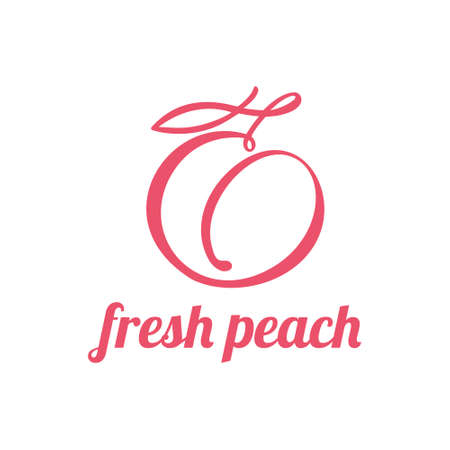 Peach continuous line drawing, minimalistic linear illustration. Vector made of a line 向量圖像