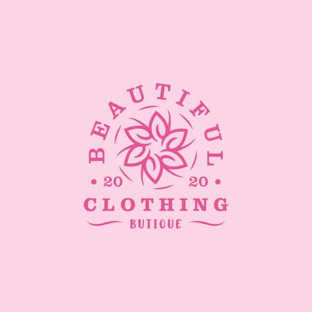 vintage emblem beautiful flower boutique design vector