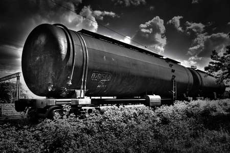 flatcar: black and white hdr railroad tank