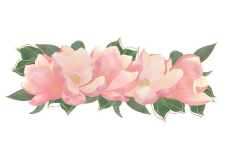 Element for decoration of printed products made of pink flowers borde Foto de archivo