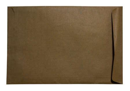 cartas antiguas: sobres marrones en los fondos blancos Foto de archivo