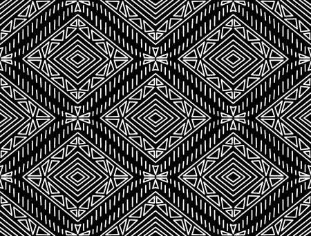 Seamless fashionable pattern of tribal african ornament in black and white colors. Graphical hand drawn background. Vector illustration 矢量图像