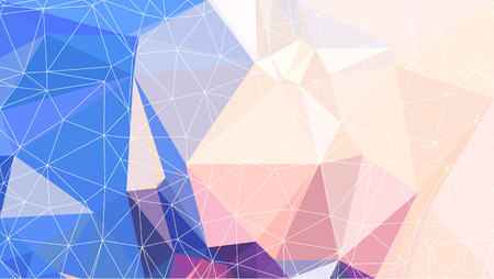 Low Poly pattern of irregular colorful triangles in blue and beige shades with shifted white stroke