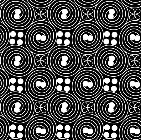 Seamless fashionable pattern of tribal african ornament consisting of swirls and dots. In black and white colors. Graphical hand drawn background. Vector illustration