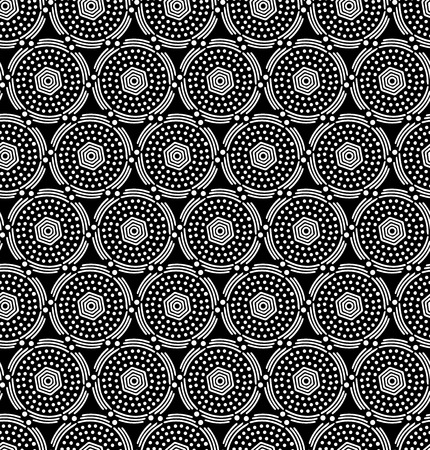 Seamless fashionable pattern of tribal african ornament. Point and linear elements. In black and white colors. Graphical hand drawn background. Vector illustration Ilustrace
