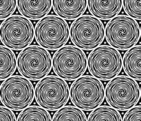 Seamless fashionable pattern of tribal african ornament consisting of swirls. In black and white colors. Graphical hand drawn background. Vector illustration Ilustrace