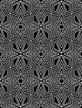 Vector abstract geometric background in black and white colors. Graphical hand drawn background. Based on ethnic ornaments.