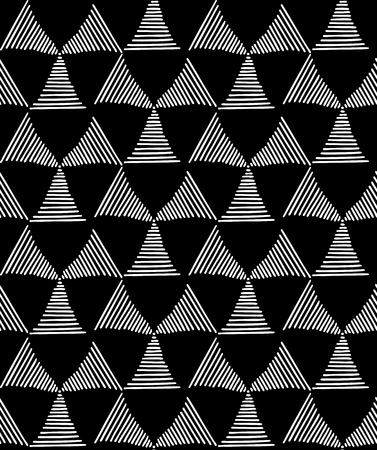 Seamless fashionable pattern of tribal african ornament consisting of triangles in lines. In black and white colors. Graphical hand drawn background. Vector illustration Ilustrace