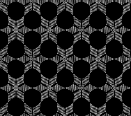 Seamless fashionable pattern of tribal african ornament consisting of linear rosette. In black and white colors. Graphical hand drawn background. Vector illustration