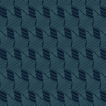 Seamless fashionable pattern of tribal african ornament consisting of linear rhombus. In blue and green colors. Graphical hand drawn background. Vector illustration Ilustrace