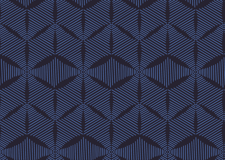 Seamless fashionable pattern of tribal african ornament consisting of linear rhombus. In blue and purple colors. Graphical hand drawn background. Vector illustration