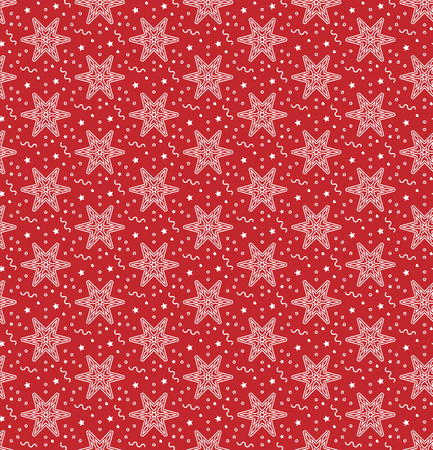 Christmas vectorillustration. Seamless pattern with snowflakes, stars, little hearts and garlands.