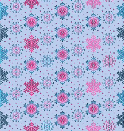 Christmas vector illustration. Seamless pattern with snowflakes, stars, little hearts on light blue background. Ilustrace