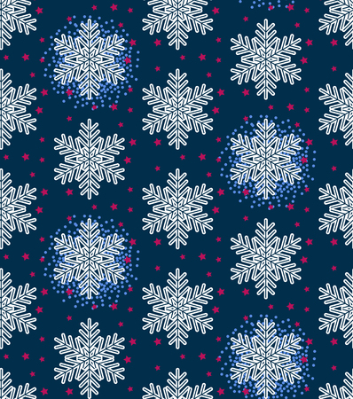 Christmas vector illustration. Seamless pattern with snowflakes, stars on dark blue background.