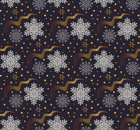 Christmas vector illustration. Seamless pattern with snowflakes, stars and golden waves on dark purple background.
