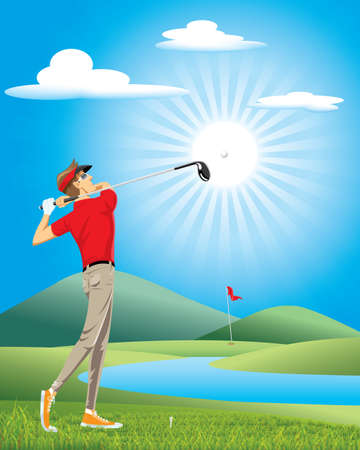 Professional golfer play golf on the green course.