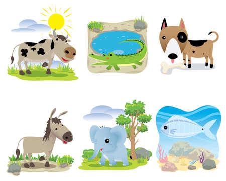 Vector animal set, cow, crocodile, dog, donkey, elephant, fish,