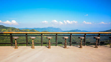 The viewpoint has a seat on the high floor. And beautiful that can see the panoramic view, Фото со стока