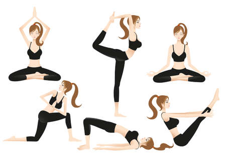 Come to practice yoga With a beautiful trainer cartoon For the beauty of the body And for good health.