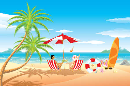 Happy honeymoon couple in the beach.