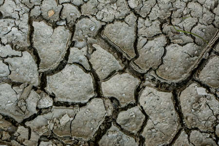 Dry soil with deep cracks, drought, heat.